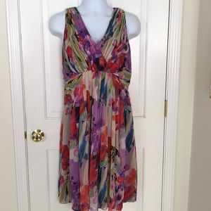 Adrianna Papell Woman Silk Watercolor Floral Dress